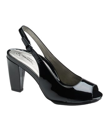Black Alicia Peep-Toe Slingback