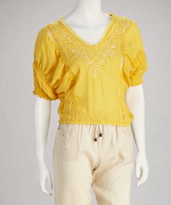 Yellow Embroidered Peasant Top