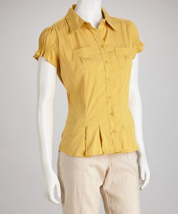 Mustard Pleated Cap-Sleeve Button-Up