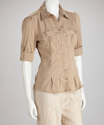 Khaki Pleated Button-Up