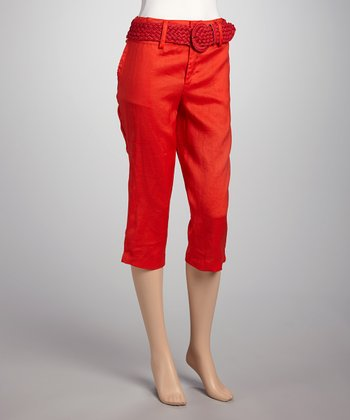 Red Linen Capri Pants & Belt