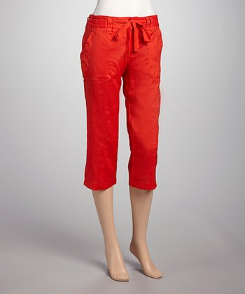 Red Drawstring Linen Capri Pants