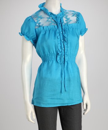 Blue Lace Frill Linen Blouse