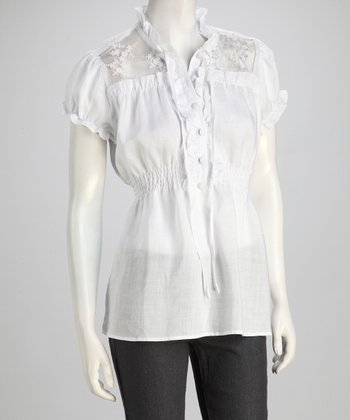 White Lace Frill Linen Blouse