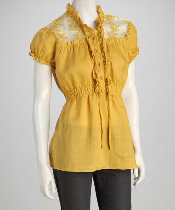 Yellow Lace Frill Linen Blouse