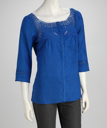 Blue Crochet Linen Blouse