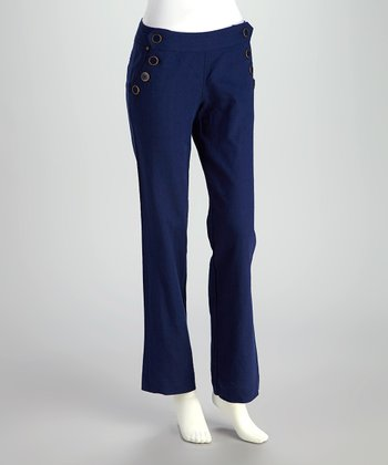 Navy Linen Sailor Pants