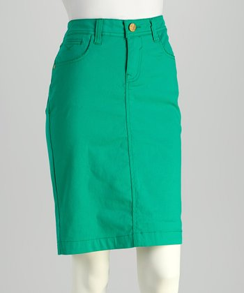 Green Denim Skirt