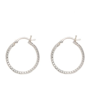 Sterling Silver Diamond-Cut 25-mm Skinny Hoop Earrings