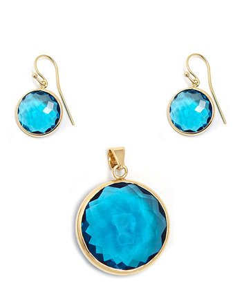 Blue Crystal & Gold Circle Earrings & Pendant Set