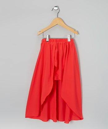 Dark Coral Hi-Low Skirt