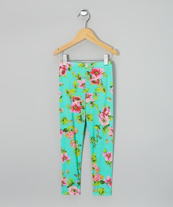 Mint & Pink Floral Leggings