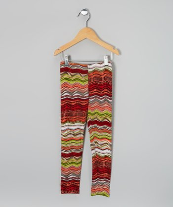Orange & Green Tribal Leggings
