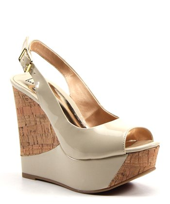 Beige Zesty Cork Slingback Wedge