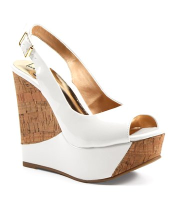 White Zes Ty Peep-Toe Wedge