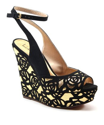 Black & Gold Delite Me Wedge