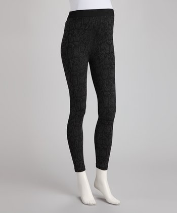 Cool Gray Snakeskin Over-Belly Maternity Leggings