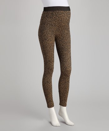 Mesquite Tan Leopard Over-Belly Maternity Leggings