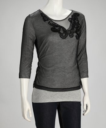 Black & Gray Mesh Overlay Three-Quarter Sleeve Top - Women