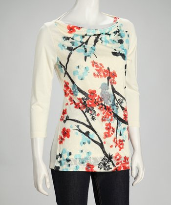 Ivory Bird Blossom Boatneck Top - Women & Plus