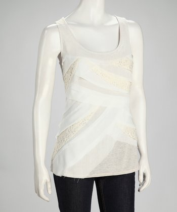 Oatmeal Raw Edge Layer Tank - Women