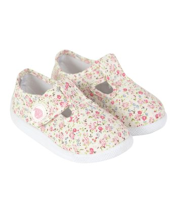 Ditsy Canvas Summer T-Strap Shoe