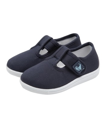 Navy Canvas Summer T-Strap Shoe