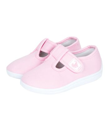 Pink Canvas Summer T-Strap Shoe