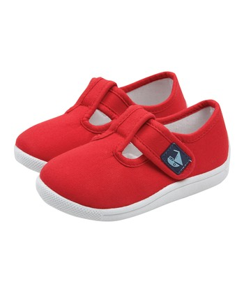 Red Canvas Summer T-Strap Shoe