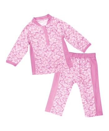 Pink Hawaiian Rashguard Set - Infant, Toddler & Girls