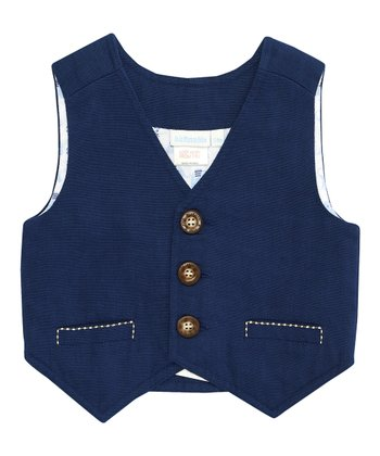 Navy Linen-Blend Vest - Infant, Toddler & Boys