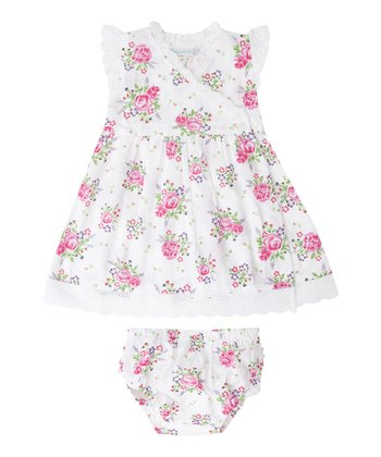White Rose Wrap Dress & Diaper Cover - Infant