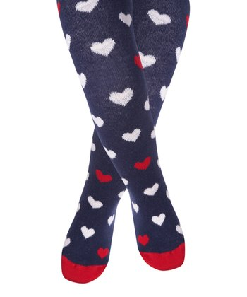 Navy Heart Tights - Infant, Toddler & Girls