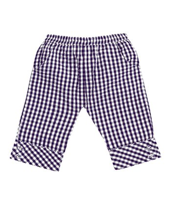 Navy Gingham Capri Pants - Infant, Toddler & Girls