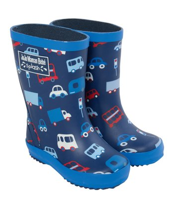 Navy Car Rain Boot