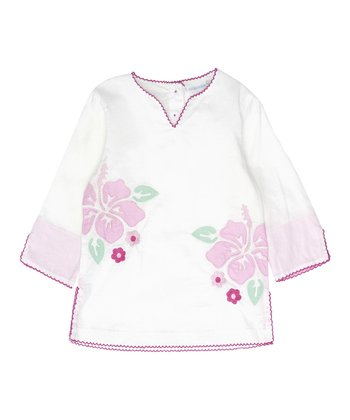 White Hibiscus Tunic - Infant, Toddler & Girls