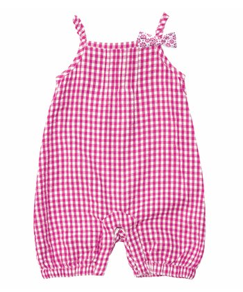 Fuchsia Gingham Romper - Infant