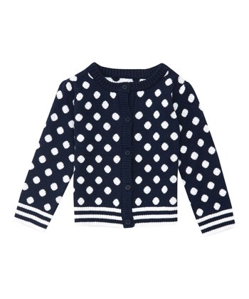 Navy Polka Dot Cardigan - Infant, Toddler & Girls