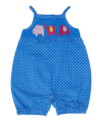 Blue Pin Dot Elephant Romper - Infant