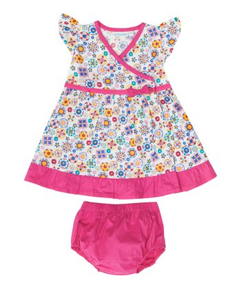 Pink Mosaic Dress & Diaper Cover - Infant