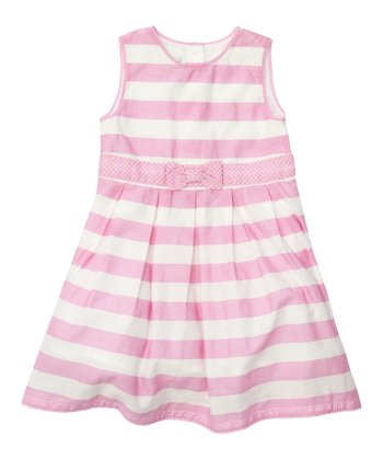 Pink & Cream Stripe Bow Party Dress - Infant, Toddler & Girls