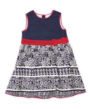 Navy Floral Party Dress - Infant, Toddler & Girls