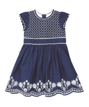 Navy Embroidered Party Dress - Infant, Toddler & Girls