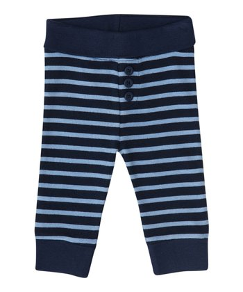Navy & Blue Stripe Pants - Infant