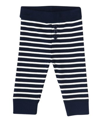 Navy & Ecru Stripe Pants - Infant