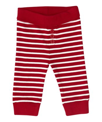 Red & Ecru Stripe Pants - Infant