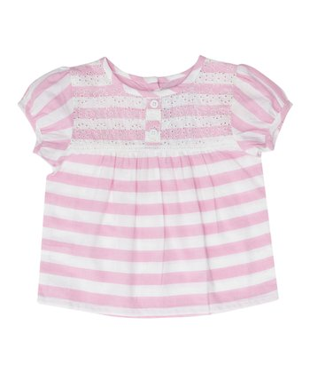Pink & White Stripe Embroidered Blouse - Infant, Toddler & Girls