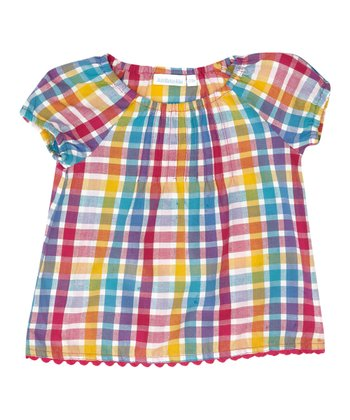 Rainbow Plaid Peasant Top - Infant, Toddler & Girls