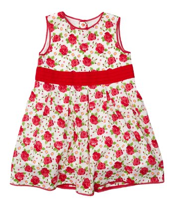 Red Rose Party Dress - Infant, Toddler & Girls