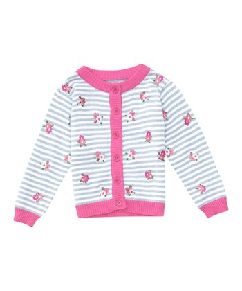 Blue Stripe Embroidered Cardigan - Infant, Toddler & Girls